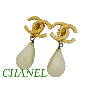 Chanel Gold Pearl Coco Mark Earrings Accessories 0580 Vintage