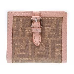 Fendi Zucca Women's Canvas,Leather Wallet (bi-fold) Pink,Beige