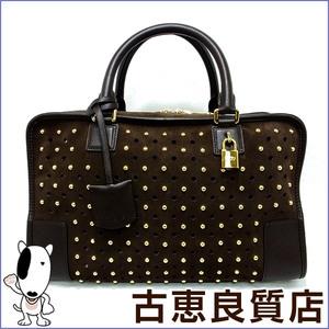 Loewe Amazona 36 A-28003861 Suede Handbag Brown