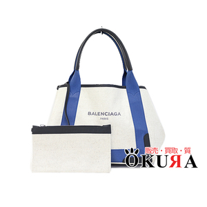 Balenciaga 339933 Navy Cabas Women's Canvas Leather Tote Bag