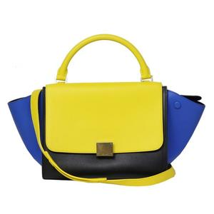 CELINE Trapeze Small 174683 Yellow Black Blue Hand Bag Shoulder Bag Ladies