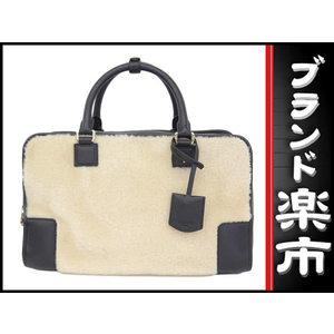 Loewe Fur Leather Bag Beige,Bicolor,Black