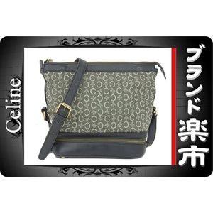 Celine Leather Canvas Leather Shoulder Bag Green