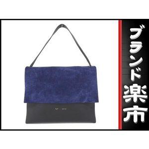 Celine Leather Leather Suede Shoulder Bag Bicolor,Black,Blue