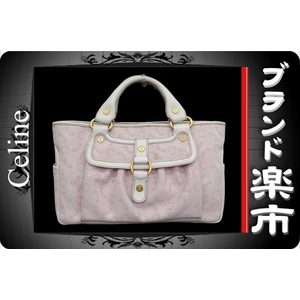 Celine Leather Canvas Leather Bag Pink,White
