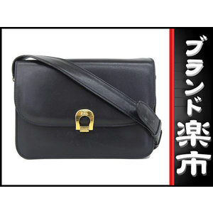 Celine Leather Leather Shoulder Bag Navy