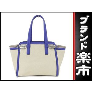Salvatore Ferragamo Leather Straw Tote Bag Blue,White
