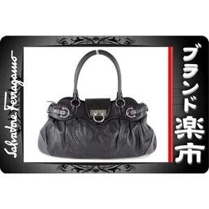 Salvatore Ferragamo Gancini Leather Tote Bag Black