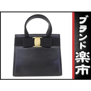 Salvatore Ferragamo Vara Leather Bag Black