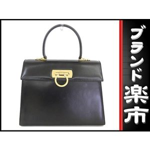 Salvatore Ferragamo Gancini Leather Bag Black