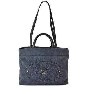 Chanel Denim Women's Denim Shoulder Bag,Handbag Navy