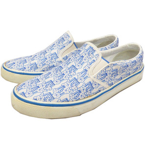 Chanel Slip-on Camellia Pattern Men's 41 Sneakers 0390 Shoes Unisex Blue