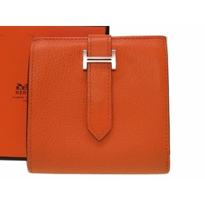Hermes Bearn Unisex Chevre Leather Wallet Orange