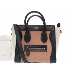 Celine Leather 168243 Women's Leather Handbag Beige,Black,Ivory