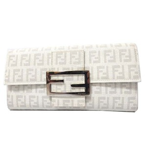 Fendi Zucca Unisex PVC Wallet White