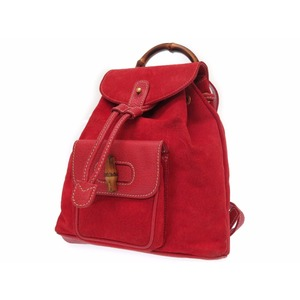 Gucci Bamboo 003-2034-0030 Women's Suede Backpack Red
