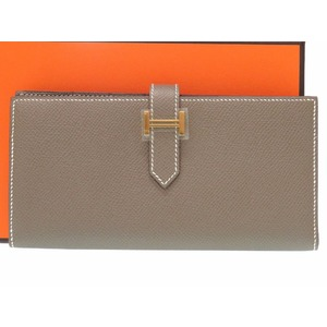 Hermes Men's  Epsom Leather Wallet Etoupe Gray