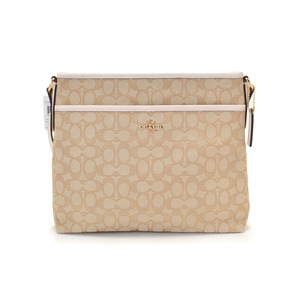 Used Coach Shoulder Bag Signature Canvas Beige Type Ivory F58285 Outlet Not ◇