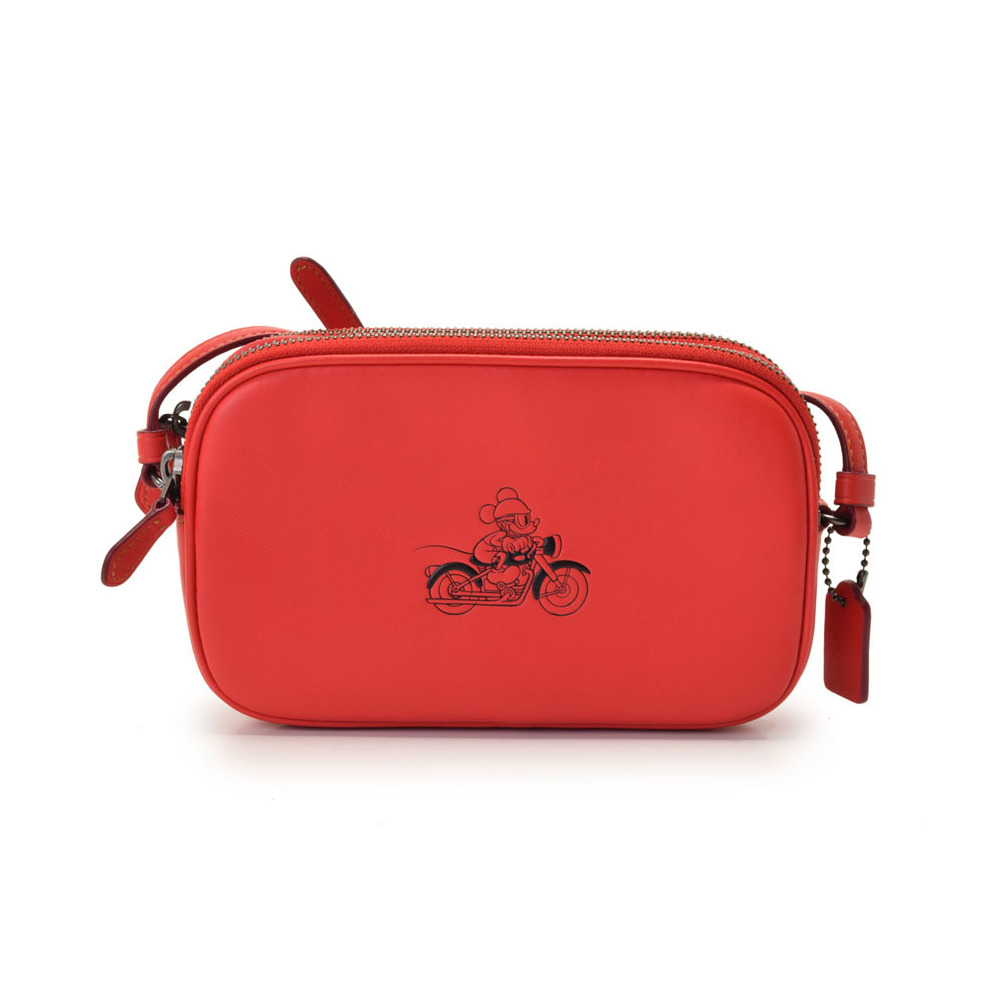 Used Coach Shoulder Bag Disney Collaboration Limited Mickey Mouse Leather Red F59072 Outlet Unused Christmas Gift