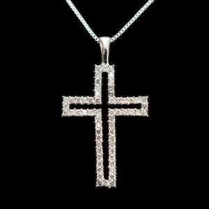 ノーブランド K18ホワイトゴールド(K18WG) ダイヤモンド レディース ネックレス カラット/0.32 (ホワイトゴールド(WG))