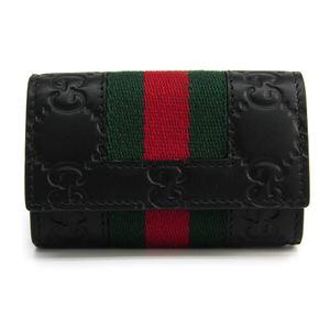 グッチ(Gucci) グッチッシマ GGレザー,ウェビング キーケース ブラック 408828