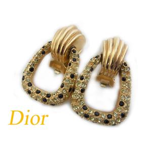 Dior Gold Rhinestone Earrings Accessories 0321 Vintage