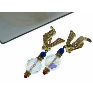 Christian Dior Earrings Rhinestone Gold Women's 0373