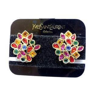 Yves Saint Laurent Gold Earring Stone 0480 Vintage