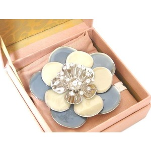 Miu Miu Miu Floral Pattern Rhinestone Brooch Blue Ivory Silver 0385 Miumiu Unisex