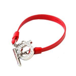 Salvatore Ferragamo Ferragamo Gancini Leather Bracelet Red 0287