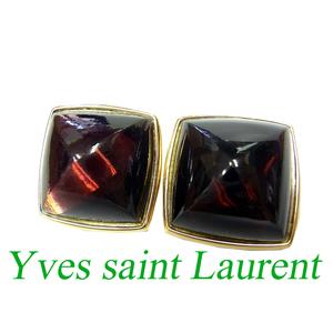 Yves Saint Laurent Gold Stone Earrings Red Accessories 0650 Paris