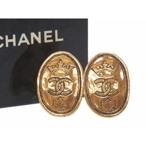 Chanel Coco Mark Crown Motif Vintage Earrings Gold Women's 0323