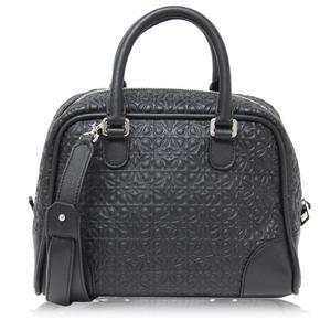 Loewe Amazona Women's Leather Silver Handbag Silver,Black
