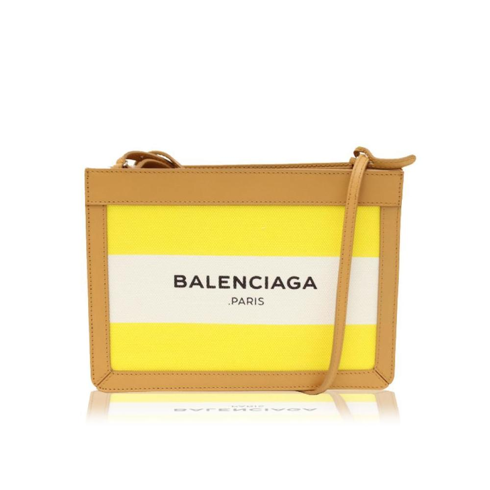9447b97ad7 Balenciaga Navy Pochette 390641 Women's Cotton Canvas Leather Pochette  Yellow