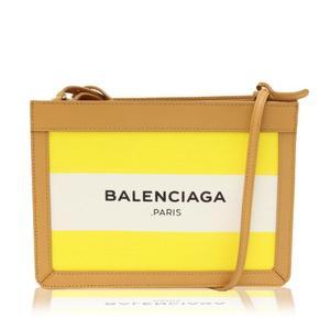 3976b3162bd8 Balenciaga Navy Pochette 390641 Women s Cotton Canvas Leather Pochette  Yellow