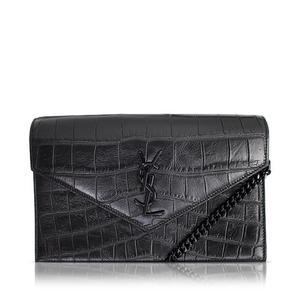 Saint Laurent Envelope 402031 Women's Leather Chain/Shoulder Wallet Black