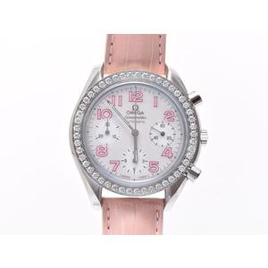 Used Omega Speedmaster 3835.74.34 Bezel Diamond Ss Leather Shell Dial Box Gala Gift Christmas ◇
