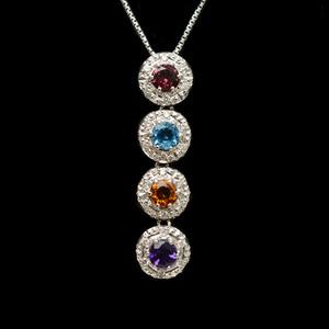 ノーブランド K18ホワイトゴールド(K18WG) ダイヤモンド レディース ネックレス カラット/0.33 副石アメジスト,トルマリン,トパーズ,シトリン
