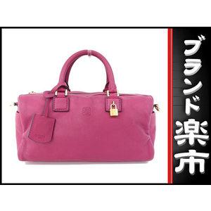 Loewe 2 Way Leather Mini Boston Bag Magenta