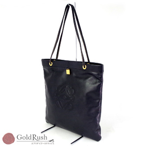 Loewe Leather Tote Bag Embossed Logo Gold Hardware Magnet Opening Women's Storage Available