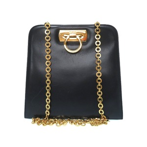 Salvatore Ferragamo Gancini Gold Chain Shoulder Bag Navy 0566