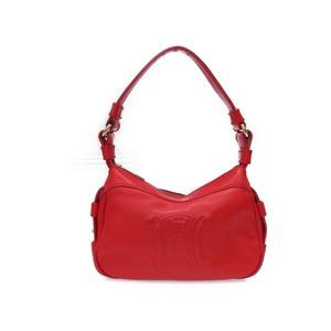 Celine Pearl Leather Shoulder Bag Vintage Design Red Ce 00/35 Engraved 0555