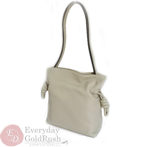 Loewe Flamenco Knot Small Leather Gray Beige 2way Shoulder Bag