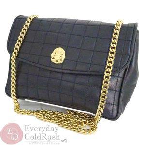 Celine Women's Chain Shoulder Bag With Black × Gold Vintage Storage