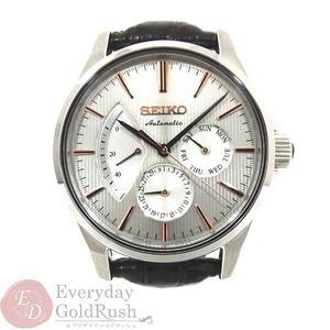セイコー SEIKO オートマチック メンズ腕時計 自動巻き プレザージュ 6R21-01C0 裏スケ レザーベルト 美品【nyu】【中古】