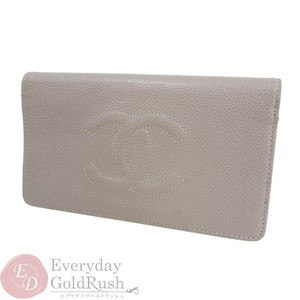 Chanel Caviar Skin Ladies Folds Long Wallet Gray Coko Mark Beautiful Goods