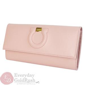 Salvatore Ferragamo Gancini  Calf Leather Long Wallet (bi-fold) Pink