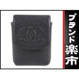 Chanel Chanel Coco Mark Caviar Cigarette Case Black Accessory