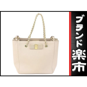 Salvatore Ferragamo Vara 2 Way Chain Handbag Pink Beige Bag
