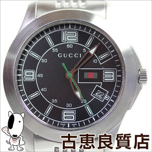 Gucci 126.2 G Timeless Chrono Extra Large Black Letter Board Ss Belt Men's Watch Quartz